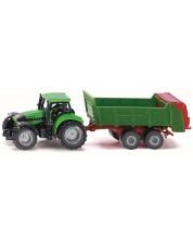 Метална количка Siku Agriculture - Трактор Deutz с ремарке