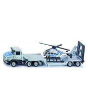 Метална играчка Siku Super - Камион с ремарке и полицейски хеликоптер, 1:87