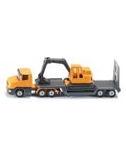 Метална играчка Siku Super - Камион с ремарке и багер