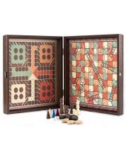 Комплект класически игри Manopoulos - Шах, табла, не се сърди човече, змии и стълби -1