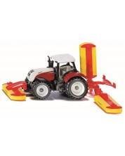 Метална количка Siku Agriculture - Трактор Steyr CVT 6230 с косачка Pottinger
