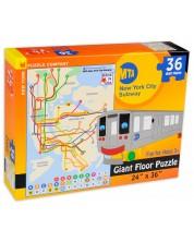 Пъзел New York Puzzle от 36 макси части - Карта на метрото, Ню Йорк -1