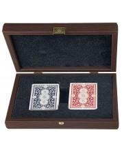Карти за игра Manopoulos - В дървена кутия, тъмен орех -1