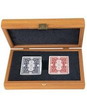 Карти за игра Manopoulos - В дървена кутия, светъл орех -1