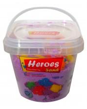 Кинетичен пясък в кофа Heroes - Лилав цвят с 6 фигурки, 1000 g -1