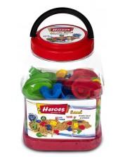 Кинетичен пясък в кофа Heroes - Червен цвят с 43 фигурки, 1000 g -1