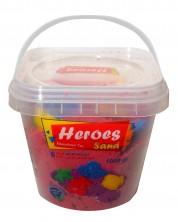 Кинетичен пясък в кофа Heroes - Червен цвят с 6 фигурки, 1000 g -1
