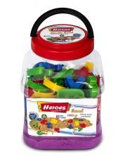 Кинетичен пясък в кофа Heroes - Лилав цвят с 43 фигурки, 1000 g -1