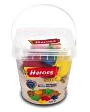Кинетичен пясък в кофа Heroes - Натурален цвят, с 6 фигурки -1