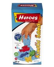 Кинетичен пясък в кyтия Heroes - Син цвят, с 4 фигурки -1