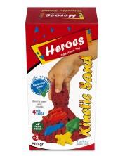 Кинетичен пясък в кyтия Heroes - Червен цвят, с 4 фигурки -1