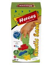 Кинетичен пясък в кyтия Heroes - Зелен цвят, с 4 фигурки -1