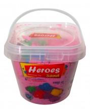 Кинетичен пясък в кофа Heroes - Розов цвят с 6 фигурки, 1000 g