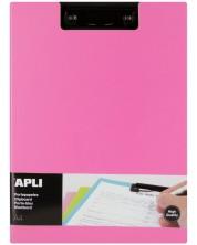 Клипборд с капак Apli А4 - PVC, розов -1