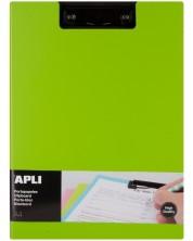 Клипборд с капак Apli А4 - PVC, зелен -1