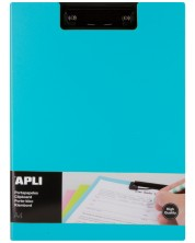Клипборд с капак Apli А4 - PVC, син -1
