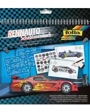 Книжка за рисуване със стикери и шаблони Folia - Състезателни коли -1