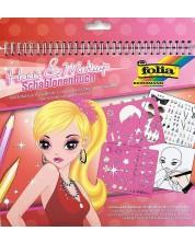 Книжка за рисуване със стикери и шаблони Folia - Гримове и прически