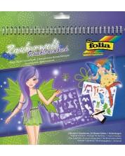 Книжка за рисуване със стикери и шаблони Folia - Вълшебен свят -1