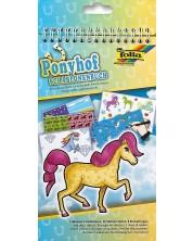 Книжка за рисуване със стикери и шаблони Folia - Пони -1