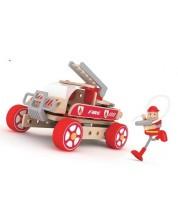 Дървен конструктор Classic World – Пожарникарска кола -1