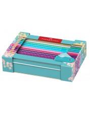 Комплект цветни моливи Faber-Castell Sparkle - 20 цвят + острилка -1