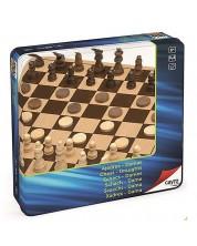 Комплект шах и табла Cayro – 25.5 x 25.5 cm, в метална кутия