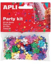 Комплект конфети Apli - Релефни цветя, разноцветни, 13 mm