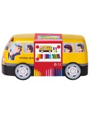 Комплект флумастери Faber-Castell Connector - Автобус, 33 цвята + 10 клипса -1