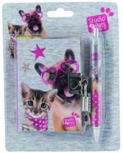 Комплект таен дневник с химикалка Paso Studio Pets  - Куче с очила сърца -1