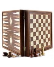 Комплект шах и табла Manopoulos - Цвят орех, 41 x 41 cm -1