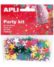 Комплект конфети Apli - Звезди, разноцветни, 15 mm -1