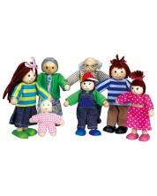 Комплект дървени кукли Lelin - Семейство, 7 части