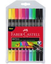Комплект двустранни флумастери Faber-Castell - 10 цвята, неон -1