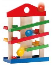 Дървен комплект Eichhorn - Къщичка, с 3 топчета