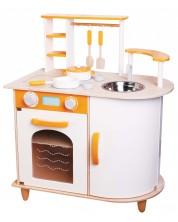 Дървена детска кухня Lelin - Алисия, с посуда