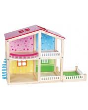 Дървена къща за кукли Lelin - Фантазия, двуетажна -1