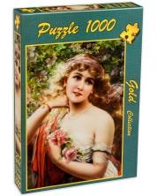 Пъзел Gold Puzzle от 1000 части - Млада дама с роза