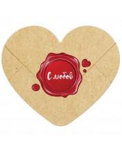 Табелка-картичка - С любов (с форма на сърце) -1