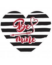 Табелка-картичка - Be mine (с форма на сърце) -1