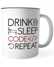 Чаша Drink Sleep Code Repeat -1