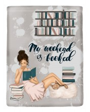 Текстилен джоб за електронна книга With Scent of Books - My weekend is booked -1
