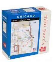 Мини пъзел New York Puzzle от 100 части - Карта на метрото, Чикаго -1