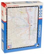 Пъзел New York Puzzle от 500 части - Транспортна карта, Чикаго -1