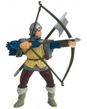 Фигурка Papo The Medieval Era – Рицар с лък, в сини доспехи