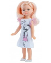 Кукла Paola Reina Mini Amigas - Елена, с бяла рокля с рисунка на момиче, 21 cm