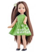 Кукла Paola Reina Mini Amigas - Естела, със зелена рокля на бели цветя, 21 cm