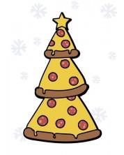 Картичка Мазно Коледа - Пица елха