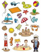 Комплект стикери Apli - Плаж, 60 броя