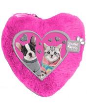 Плюшен несесер Paso Studio Pets - Сърце, розов -1